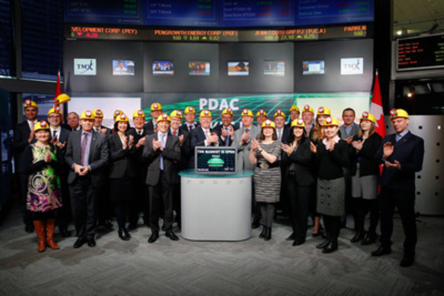 Rod Thomas, President, Prospectors and Developers Association (PDAC) joined , President, TSX Markets & Group Head Kevan Cowanof Equities, TMX Group to open the market to recognize the association's annual international convention held in Toronto March 1-4, 2015. PDAC is a national association, active in the areas of advocacy and policy development on behalf of their members in the mineral exploration and development industry. Since it began in 1932, the annual Convention has grown significantly. In 2014 the event included over 1,000 exhibitors, over 25,000 attendees from 103 countries, technical sessions, short courses, as well as social and networking events. (CNW Group/Toronto Stock Exchange)
