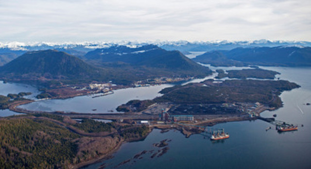 The Ridley Island Industrial Site (at right), at the Port of Prince Rupert, will be ringed by a road, rail and utility corridor that links proposed terminal developments to existing rail and port infrastructure. (CNW Group/Prince Rupert Port Authority)