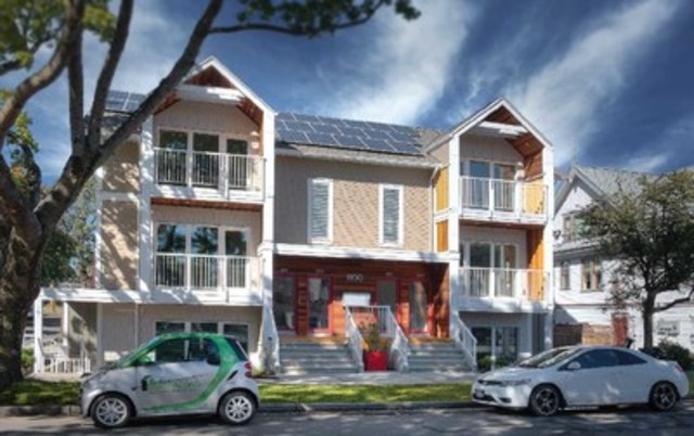 North Park Passive House in Victoria, BC: The first market Passive House condominium built in Canada. The project offered six homes, each with separate entrances, two bedrooms and one bath. (CNW Group/Passive House Canada)