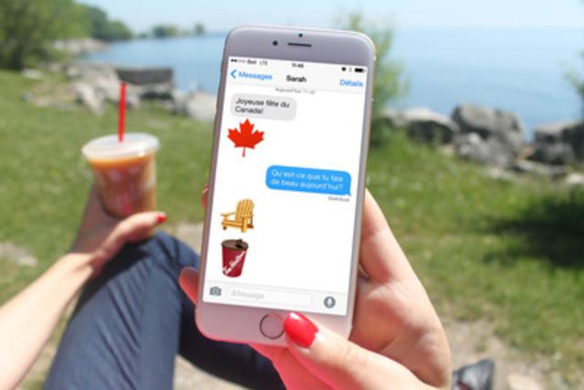 Pour célébrer la Fête du Canada, Tim Hortons lance un clavier EHmoji uniquement canadien incluant 12 images typiquement canadiennes qui peut être téléchargé de l'App Store. Tim Hortons ajoutera de nouvelles images au clavier en fonction des suggestions que les amateurs lui communiqueront à l'aide du mot-clic #TextezCommeUnCanadien. (Groupe CNW/Tim Hortons)