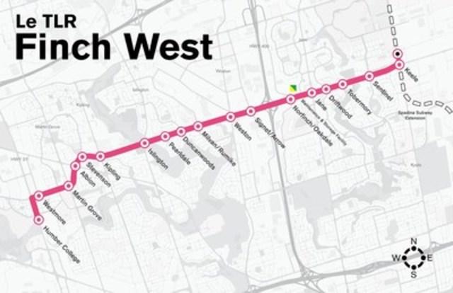 La ligne de TLR Finch Ouest sera une nouvelle ligne de transport en commun rapide de 11 kilomètres qui desservira Toronto. Les travaux de construction commenceront en 2017. Carte fournie par Metrolinx. (Groupe CNW/Infrastructure Ontario)