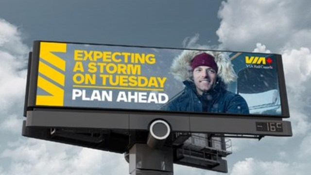 Typical VIA Rail Outsmart Winter billboard. (CNW Group/VIA Rail Canada Inc.)
