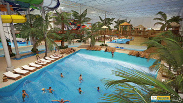 Piscine à vagues du parc aquatique intérieur du Village Vacances Valcartier. (Groupe CNW/Village Vacances Valcartier)