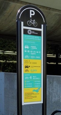Au cours de la dernière année, le Parc olympique a installé plus d'une vingtaine de supports à vélos, à des endroits névralgiques, notamment, à l'entrée des bureaux administratifs, à l'intérieur des stationnements ainsi qu'aux abords du Centre sportif. À ces nouvelles stations, un volet sensibilisation à l'utilisation du vélo a été mis de l'avant afin de démontrer les avantages du transport actif. (Groupe CNW/Parc olympique)
