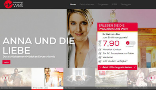 ProSiebenSat.1 Welt launches new website and app offering subscribers access to the latest and best of German television. (CNW Group/ProSiebenSat.1 Welt)