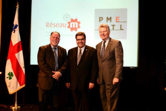 De gauche à droite : Michel Auger, président exécutif, Conseil régional de mentorat de Montréal; Denis Coderre, maire Ville de Montréal; Charles Sirois, président du Conseil, Fondation de l'entrepreneurship. (Groupe CNW/Fondation de l'entrepreneurship)