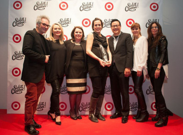 Target is pleased to present the Target Emerging Designer Award to Melissa Nepton. Judges Denis Desro, editor in chief, Fashion, ELLE Québec, Marianne Cobb, vice-president, Marketing, Canadelle and member of the board, Fondation de la mode de Montréal, John Morioka, senior vice-president, Merchandising, Target Canada, Chantal Durivage, co-president, Groupe Sensation Mode and Annie Horth, stylist and creative director, as well as Mitsou Gelinas, Target fashion ambassador, were impressed by the designer's creativity. (CNW Group/Target Canada)