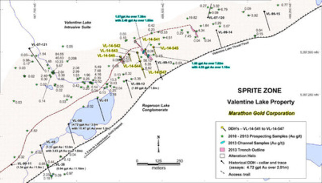 Figure 1: Location map of Sprite Zone showing the collar position of VL-14-541 to VL-14-547, 2013 prospecting and channel samples, and alteration corridor. Note: Assays pending for drill holes VL-14-545 to VL-14-547. (CNW Group/Marathon Gold Corporation)