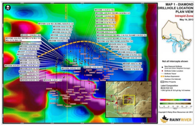 Map 1 - Diamond Drill Hole Location Plan Map (CNW Group/Rainy River Resources)