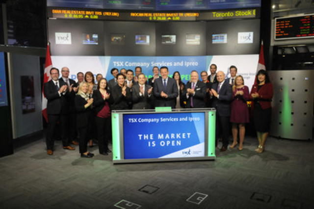 Kevin Marcus, President and COO, Ipreo, will join Lou Eccleston, CEO, TMX Group, on Tuesday, October 4, 2016, to open the market. TSX Company Services today announced an agreement with Ipreo, a global provider of financial services technology, data and analytics. TSX Company Services has teamed up with Ipreo to offer Toronto Stock Exchange and TSX Venture Exchange issuers in-depth analysis and dynamic functionality to build and execute their IR strategies, including Ipreo's global investor identification and targeting, IR workflow tools and buy-side perception studies. For more information, please visit www.tsx.com/tsx-company-services and www.ipreo.com. (CNW Group/TMX Group Limited)