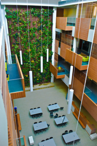 Centennial College's LEED Gold-certified Library and Academic Facility features a 16.5-metre-high living bio-wall that is designed to remove indoor airborne contaminants. (CNW Group/Centennial College)