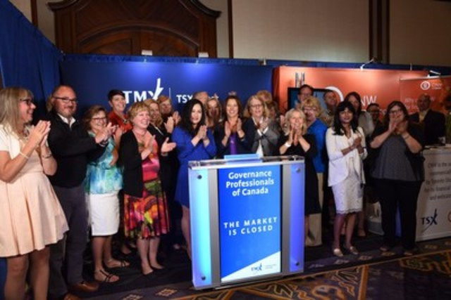 The Board of Directors of the Governance Professionals of Canada (GPC) joined Julia Yan, VP, Regional Sales, TSX Trust Company to close the market from the exhibitor floor of the 18th Annual Corporate Governance Conference in Whistler, BC.  GPC, formerly the Canadian Society of Corporate Secretaries recently rebranded to better reflect the range of backgrounds, expertise and roles their membership support in the governance function within their organizations, across industries and sectors. The conference is taking place at the Fairmont Chateau Whistler in British Columbia from August 21 to 24, 2016. For more information please visit http://www.cscs.org/AnnualConference (CNW Group/Toronto Stock Exchange)