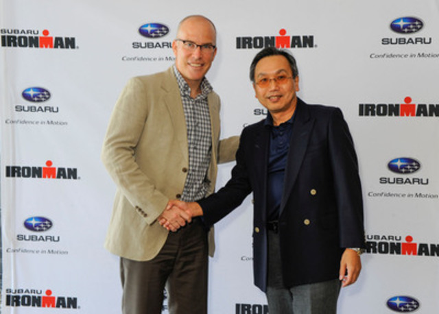 Pictured from left to right: Andrew Messick, CEO for Ironman, with Shiro Ohta, Chairman, President and CEO of Subaru Canada, Inc. (CNW Group/Subaru Canada Inc.)