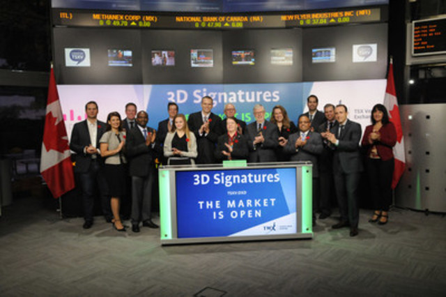 Jason Flowerday, Chief Executive Officer, 3D Signatures Inc. (DXD), joined Eric Loree, Team Manager, Listed Issuer Services, TSX Venture Exchange to open the market. 3D Signatures Inc. is a personalized medicine company with proprietary software that can measure the stage of disease, rate of progression, drug efficacy, and drug toxicity. The technology is designed to predict the course of disease and to customize treatment for patients. 3D Signatures Inc. commenced trading on TSX Venture Exchange on September 13, 2016. (CNW Group/TMX Group Limited)