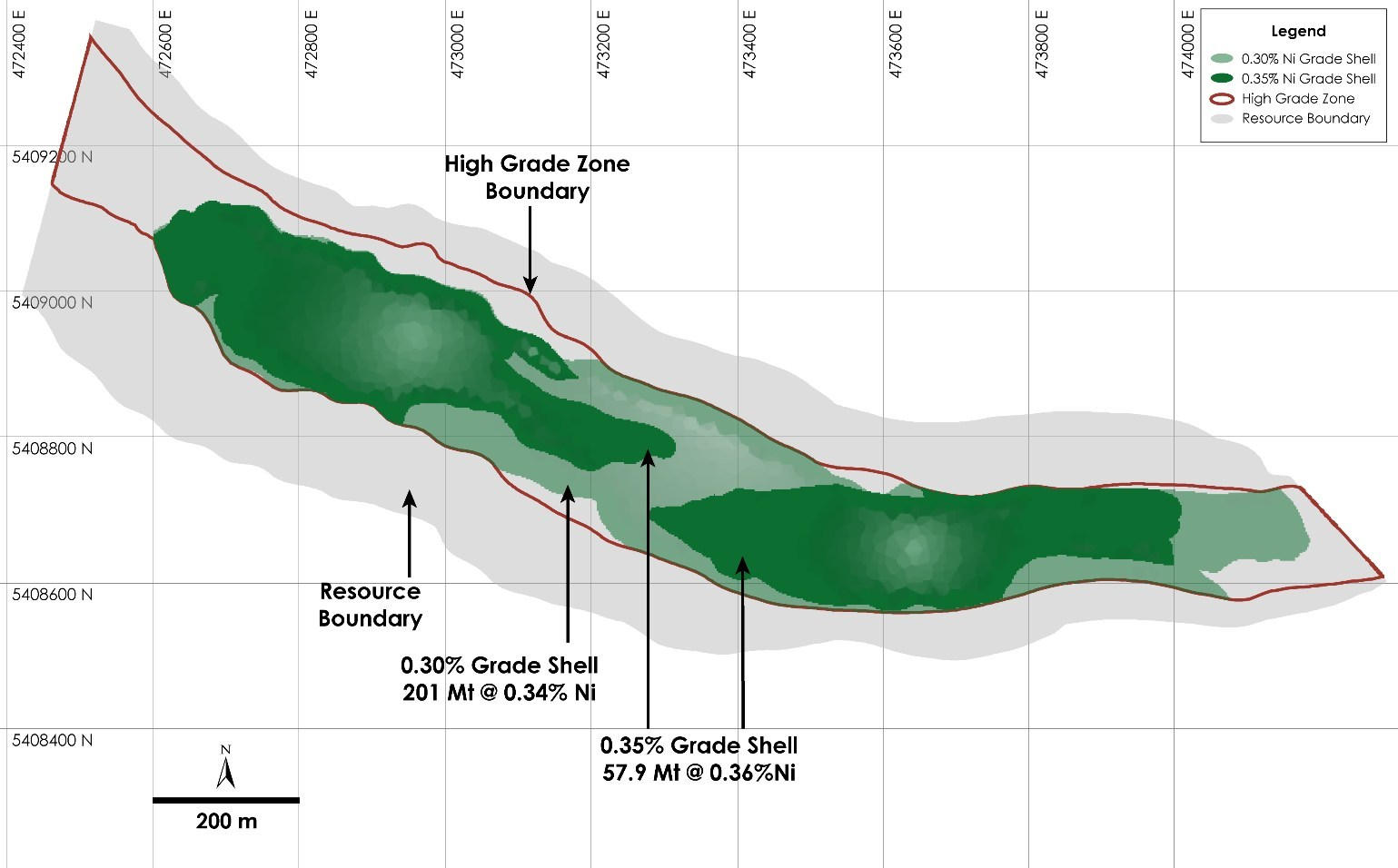 Figure 3 - Plan View of Main Zone Resource at the Crawford Nickel-Cobalt Sulphide Project, Ontario (CNW Group/Canada Nickel Company Inc.)