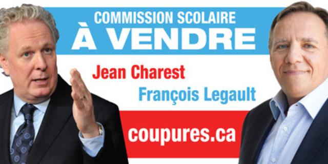 """Pancarte """"à vendre"""" qui a été installée devant plusieurs commissions scolaires et les bureaux du Syndicat de Champlain(CSQ) (Groupe CNW/Syndicat de Champlain (CSQ))"""