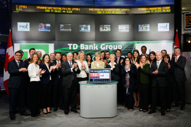 Colleen Johnston, Group Head and CFO, TD Bank Group (TD) joined Lou Eccleston, CEO, TMX Group & Ungad Chadda, Senior Vice President, Toronto Stock Exchange (TSX) to open the market to celebrate 60 years as a Toronto Stock Exchange listed company. TD commenced trading on TSX on February 2, 1955. Since its inception, TD has grown to service approximately 24 million customers worldwide through three business lines: Canadian Retail, U.S. Retail and Wholesale Banking. TD offers online financial services with approximately 9.7 million active online and mobile customers. Over the last five years TD has grown 45 percent in market capitalization. As of January 31, 2015, TD had $1.1 trillion in assets. (CNW Group/TMX Group Limited)