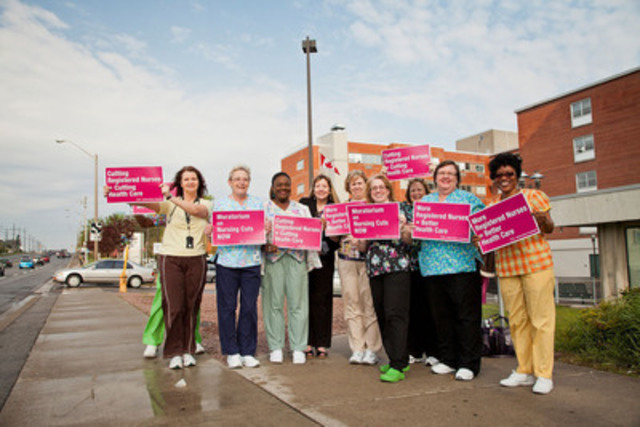 Registered nurses at The Scarborough Hospital are advocating for their patients by helping the community send the message: cutting nurses is cutting health care. (Photo Credit: Gregory Bennett) (CNW Group/Ontario Nurses' Association)