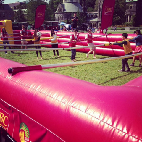 CIBC invites University of Waterloo students to buckle up and play human foosball (CNW Group/CIBC)