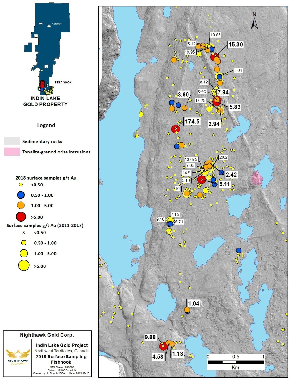 Figure 8. Fishhook Location Map and Select Surface Sample Results