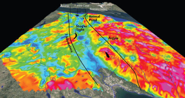 Exhibit B: The Scrape Trend, viewed to the southwest, is a southwesterly trending zone of prospective geology centered upon a topographic lineament associated with a fault zone.  The lineament is further defined by the coincidence of a conductive zone, shown as shades of blue on the EM (56k Hz) resistivity map used as a backdrop to the 6-known deposits and prospects within the trend, including the producing Pine Cove Mine. (CNW Group/Anaconda Mining Inc.)