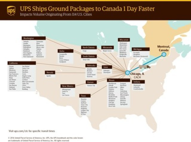 UPS ships ground packages to Canada one day faster (CNW Group/UPS Canada Ltd.)