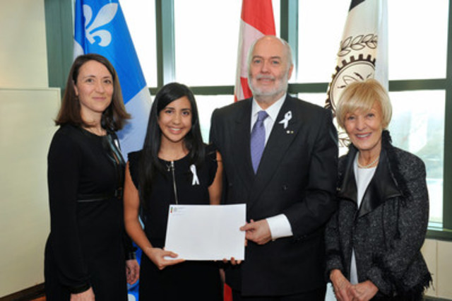 "From left to right. Nathalie Provost, Polytechnique graduate injured during the 1989 tragedy and Godmother"" of the Order of the White Rose; Tara Gholami, first recipient of the Order of the White Rose scholarship; Christophe Guy, CEO of Polytechnique; Michèle Thibodeau-DeGuire, Principal and Chair of the Polytechnique Board of Directors, and Chair of the selection jury for the Order of the White Rose scholarship. (CNW Group/Polytechnique Montréal)"
