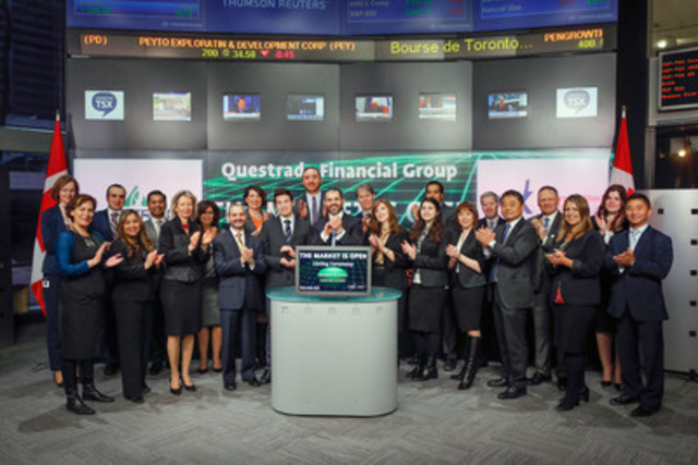 Edward Kholodenko, President and CEO, Questrade Financial Group joined Amelia Nedovich, Head, Business Development, Exchange Traded Funds and Structured Products, TMX Group open the market to launch six new funds: Questrade Russell 1000 Equal Weight US Industrials Index ETF Hedged to CAD (QRI); Questrade Russell 1000 Equal Weight US Health Care Index ETF Hedged to CAD (QRH); Questrade Russell 1000 Equal Weight US Technology Index ETF Hedged to CAD (QRT); Questrade Russell 1000 Equal Weight US Consumer Discretionary Index ETF Hedged to CAD (QRD); Questrade Russell US Midcap Value Index ETF Hedged to CAD (QMV) and Questrade Russell US Midcap Growth Index ETF Hedged to CAD (QMG). Questrade Wealth Management Inc. manages and administers Questrade ETFs and provides professional investment management services through Portfolio IQ. Questrade Wealth Management is an investment fund manager and portfolio manager. (CNW Group/TSX Group Inc.)