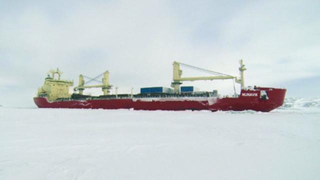 MV Nunavik at Deception Bay, winter 2014. (CNW Group/Fednav Ltd.)