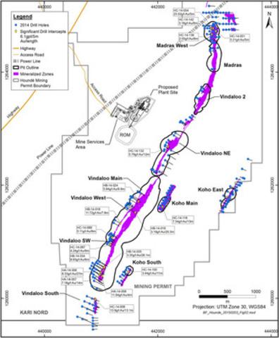 Figure 2: Vindaloo 2014 Drill Program Showing Highlights (CNW Group/Endeavour Mining Corporation)