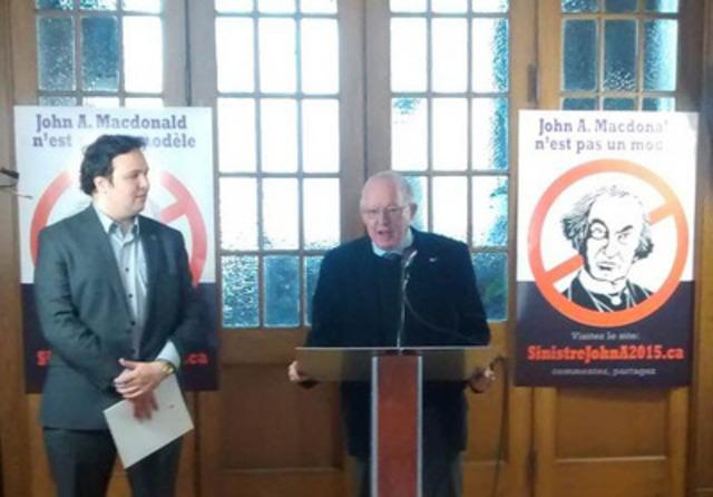 Bernard Landry se joint aux contre-célébrations du bicentaire du fondateur du Canada, John A. Macdonald (Groupe CNW/Société Saint-Jean-Baptiste de Montréal)