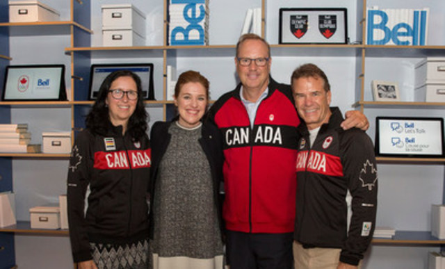 Tricia Smith, Clara Hughes, George Cope, and Chris Overholt announce Bell's extended partnership with the  ...