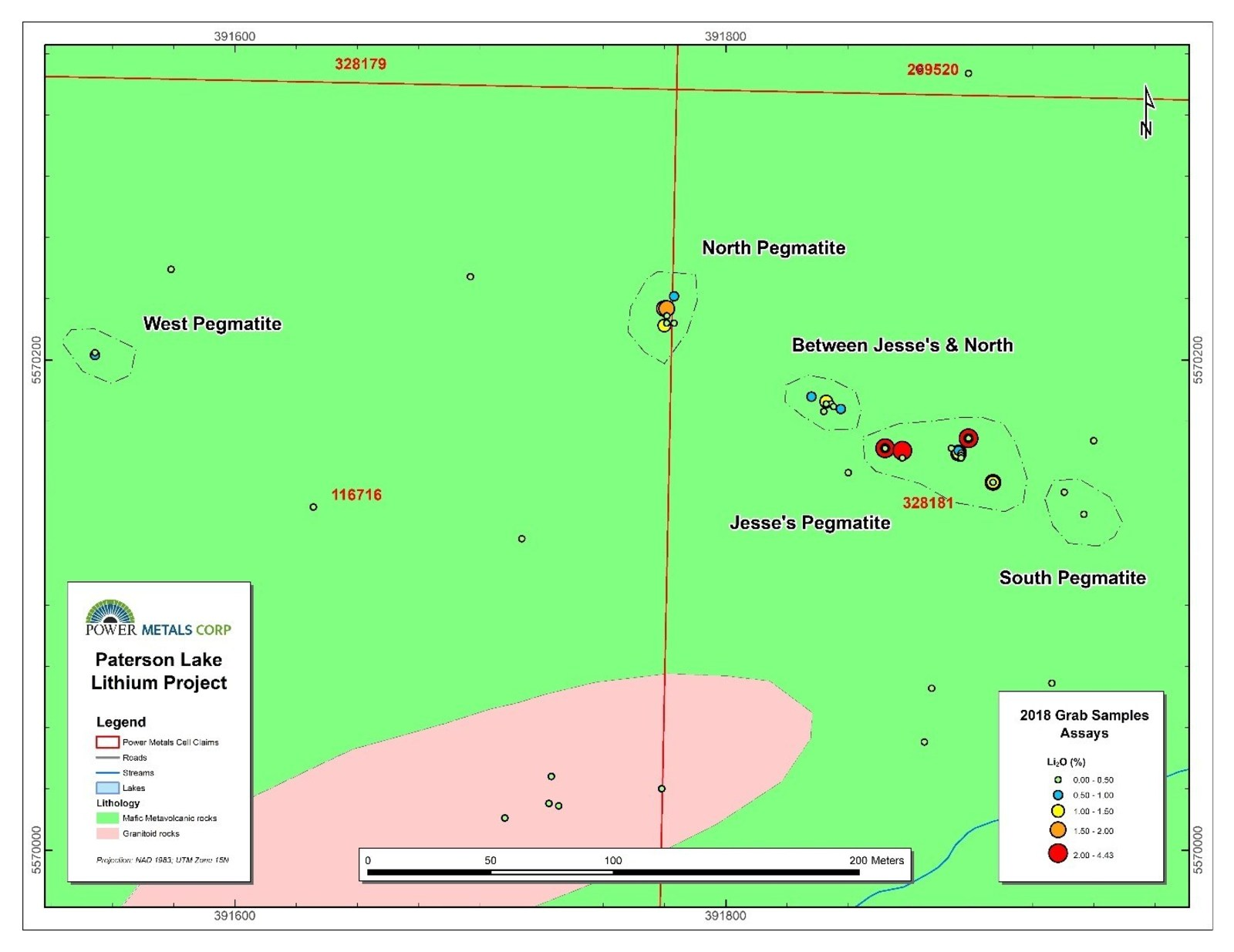 Figure 2 Map of surface samples colour coded by lithium grade at Jesse's pegmatite, Paterson Lake Property.