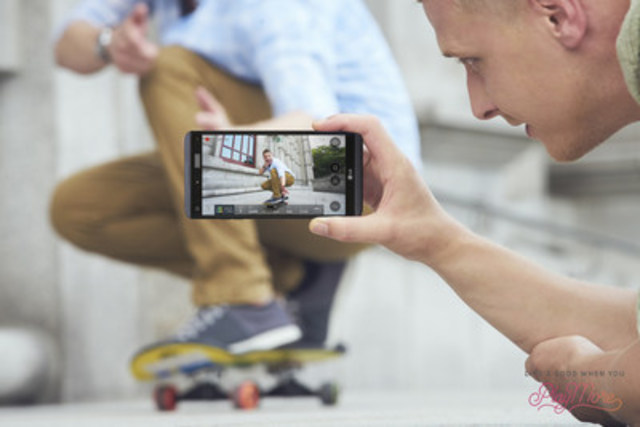 LG V20's Steady Record 2.0 leverages Qualcomm Technologies' electronic image stabilization (EIS) 3.0 to record sharper video footage while neutralizing shaky images. (CNW Group/LG Electronics Canada)