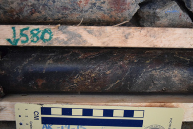 Figure 3: AR-14-15 - Massive to Semi-Massive Pitchblende Mineralization at 580.0 m (CNW Group/NexGen Energy Ltd.)