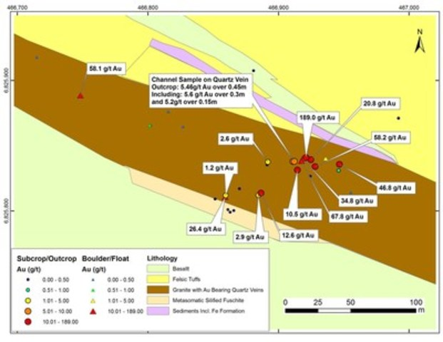 Figure 2:  Preliminary geological map of Aurora Zone discovery showing high grade Au mineralization extending over 200m (CNW Group/RNC Minerals)