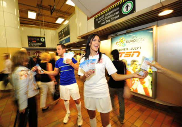 TSN's soccer players greeted commuters at Union Station this morning to celebrate the start of UEFA EURO 2012. TSN has live coverage of the championship event in Poland and Ukraine from June 8-July 1. (CNW Group/TSN)
