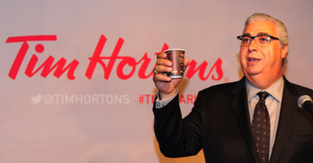 Marc Caira, President & CEO, Tim Hortons Inc., announces the North American debut of the company's new Dark Roast blend in Toronto, ON. The new blend is available starting Friday, August 15. (CNW Group/Tim Hortons)