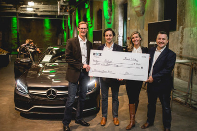 Nudge Rewards wins Mercedes-Benz Canada pilot during the Retail Experience Innovation Competition (CXI) in Toronto. From left to right: Gareth T. Joyce, President and CEO of Mercedes-Benz Canada, Jordan Ekers, Vice President, Business Development of Nudge Rewards, Lindsey Goodchild, CEO of Nudge Rewards, Ralph Ostertag, Chief Information Officer of Mercedes-Benz Canada, Mexico and Latin America. (CNW Group/Mercedes-Benz Canada Inc.)