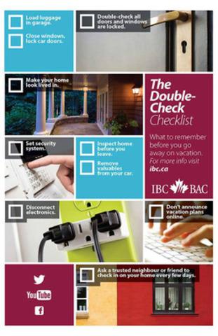 Insurance Bureau of Canada's vacation checklist (CNW Group/Insurance Bureau of Canada)