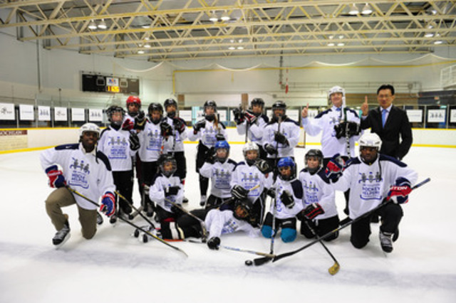 P.K. Subban with some young hockey players at the launch of Hyundai Hockey Helpers, a program run by the automaker to help deserving kids afford the cost of equipment and league fees for organized hockey. Learn more at www.HyundaiHockey.ca. (CNW Group/Hyundai Auto Canada Corp.)