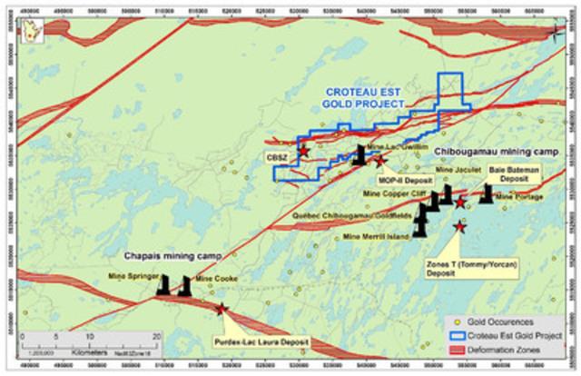 Figure 1: Croteau Est Location, Québec (CNW Group/Chalice Gold Mines Limited)