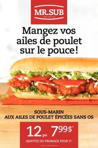 Sandwich aux ailes de poulet épicées désossées de MR.SUB (Groupe CNW/Groupe d'Alimentation MTY inc.)