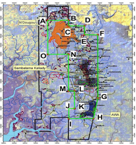 Forécariah size and shape of proposed 2nd renewal is outlined in green. (CNW Group/West African Iron Ore Corp.)
