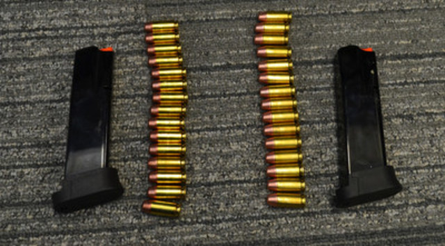 The two prohibited over-capacity semi-automatic pistol magazines seized by the CBSA. (CNW Group/Canada Border Services Agency)