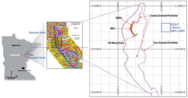 """Figure 2: Airborne magnetic first derivative survey showing the 18km long strike of the Tamarack Igneous Complex with the long narrow intrusion that hosts the currently defined mineralization termed the """"Tail"""" and the large layered intrusion to the south termed the """"Neck"""" and """"Body"""" in an analogy where the shape has been compared to a tadpole. Kennecott Airborne Magnetic Survey (2001 to 2009), modified by Talon, 2014 (CNW Group/Talon Metals Corp.)"""
