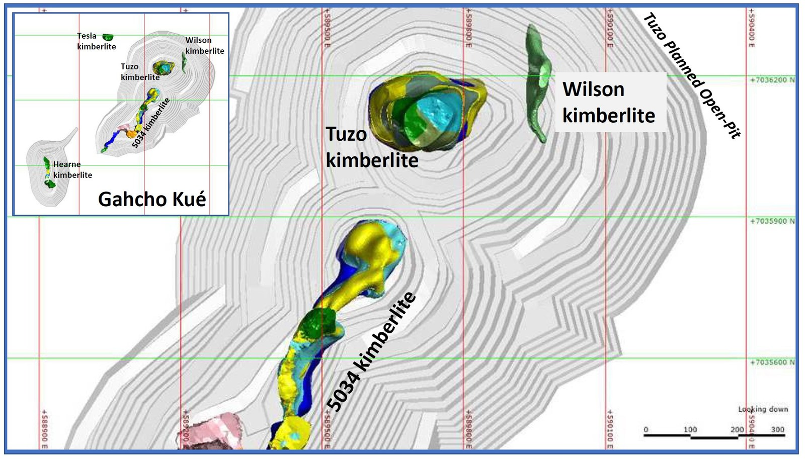 Plan view of the Wilson kimberlite. Inset shows the location relative to other kimberlites in the Gahcho Kué JV area. The planned open-pit mine pit shells are shown in pale gray.