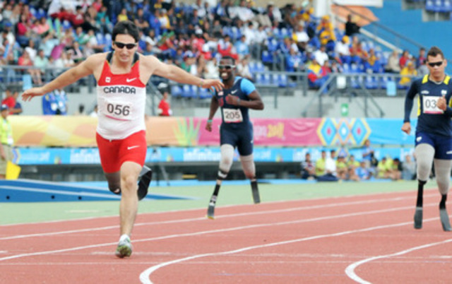 Jackie Marciano (Halifax, NS) won bronze in the men's amputee 400-metres final in a time of 57.13. Marciano was able to lean by Rob Brown of the United States to secure a podium finish (CNW Group/CANADIAN PARALYMPIC COMMITTEE (CPC))