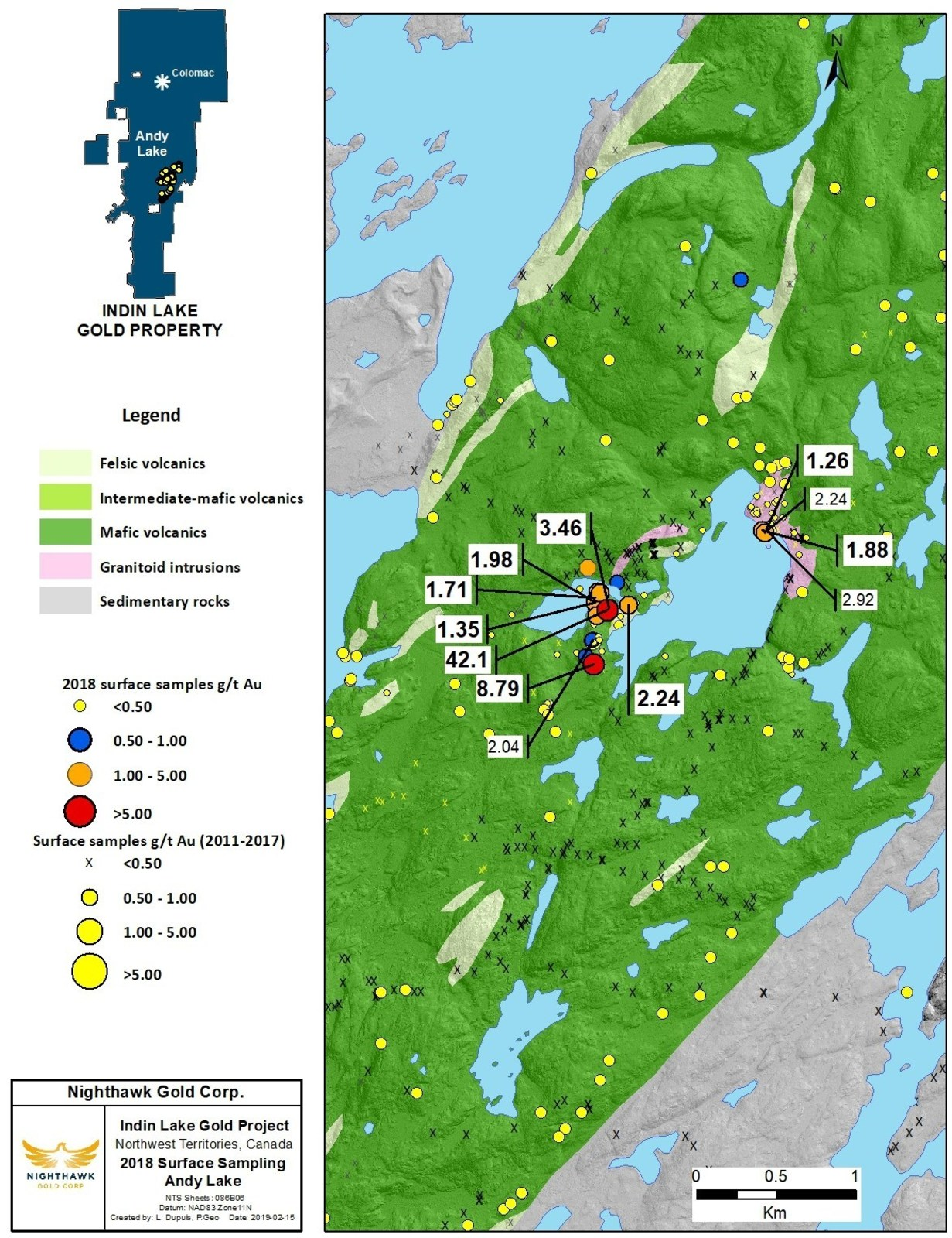 Figure 4. Andy Lake Location Map and Select Surface Sample Results