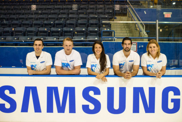Samsung Electronics Canada announces the Samsung GALAXY Team Athletes as part of the official launch of its Sochi 2014 Olympic Winter Games '#BringItHome' Campaign. From L to R: Michael Gilday, Men's Short Track Speed Skating, Steven Stamkos, Men's Ice Hockey, Marie-Eve Drolet, Women's Short Track Speed Skating, Greg Westlake, Men's Ice Sledge Hockey, and Hayley Wickenheiser, Women's Ice Hockey. (CNW Group/Samsung Electronics Canada Inc.)